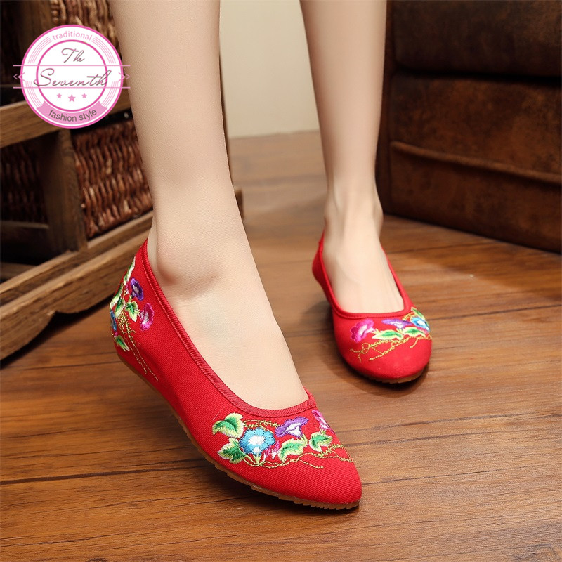 Morning Glory Old Beijing Embroidery Women Shoes Mary Jane Flat Heel Denim Chinese Style Casual Cloth Plus Size Shoes Woman(China (Mainland))