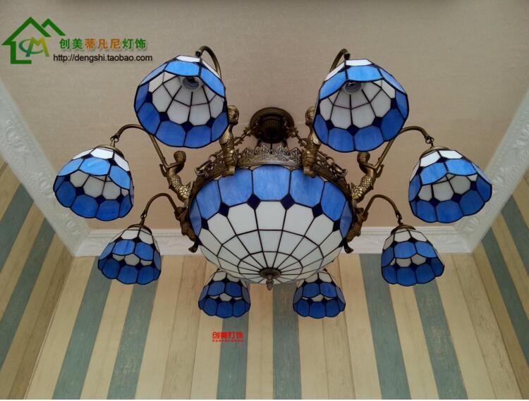 Купить 6 глава 38 дюймов Высокое качество гостиная спальня Подвесные Светильники В стиле Барокко Разноцветные Стекла Тиффани ЛАМПЫ