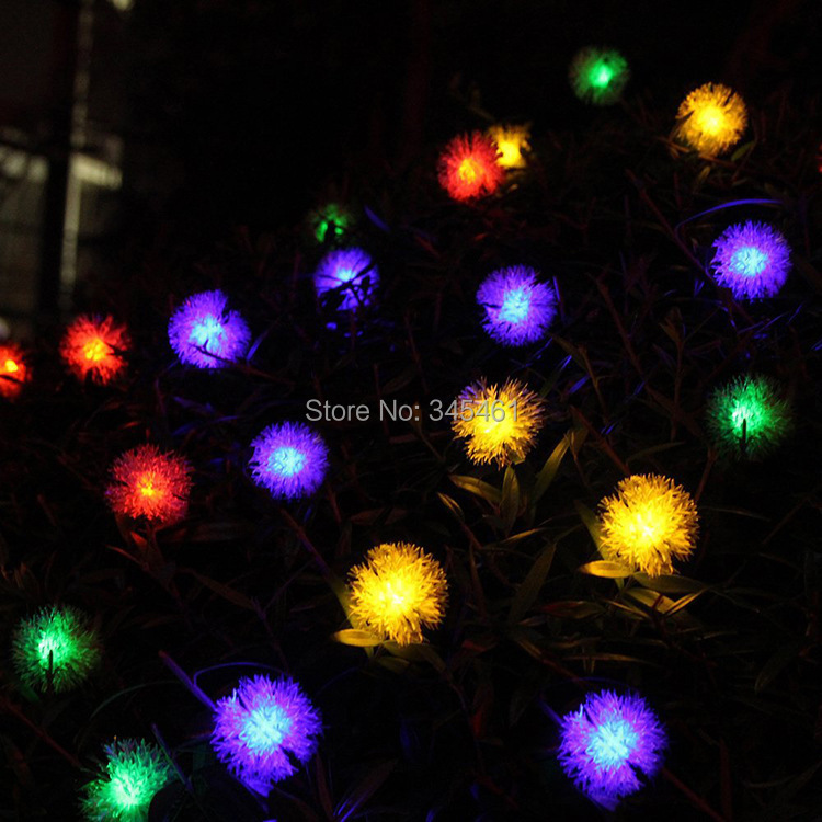 Outdoor Solar String Lights 20LED hairy ball string festive countryard garden decorative Led ...