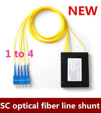 Free Shipping   1pcs GPON EPON 3.0mm 1M Fiber Length 1×4 ABS Box 1*4 SC/UPC Fiber Optical PLC Splitter