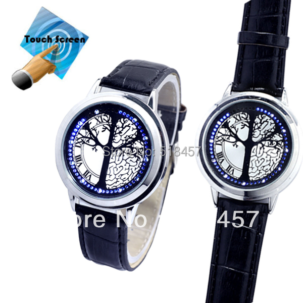 New Arrival Touchscreen Blue LED Men Boys Tree Of Life Quartz Wrist Watches Free Shipping