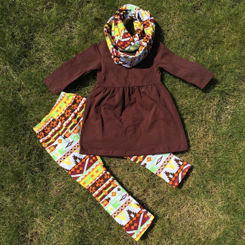 FALL OUTFITS persnickety girls 3 pieces sets girls Christmas pant sets girls boutique clothes kids brown top sets(China (Mainland))