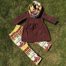 Autunno rifornisce persnickety ragazze 3 pezzi set delle ragazze di natale pant imposta ragazze boutique abbigliamento bambini brown top set(China (Mainland))