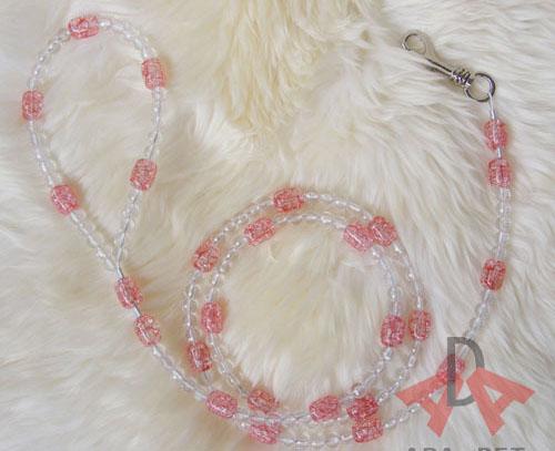 Retail 1pcs red luxury ice crack round beads pet dog leash for medium/ small dogs,dog leash(China (Mainland))