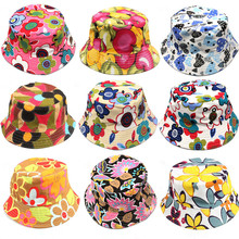 Baby Floral Sun Protection Hat Design Summer Beach Flower Canvas Boonie Fisherman Hats Fishing Bucket Hat Cap For Children(China (Mainland))