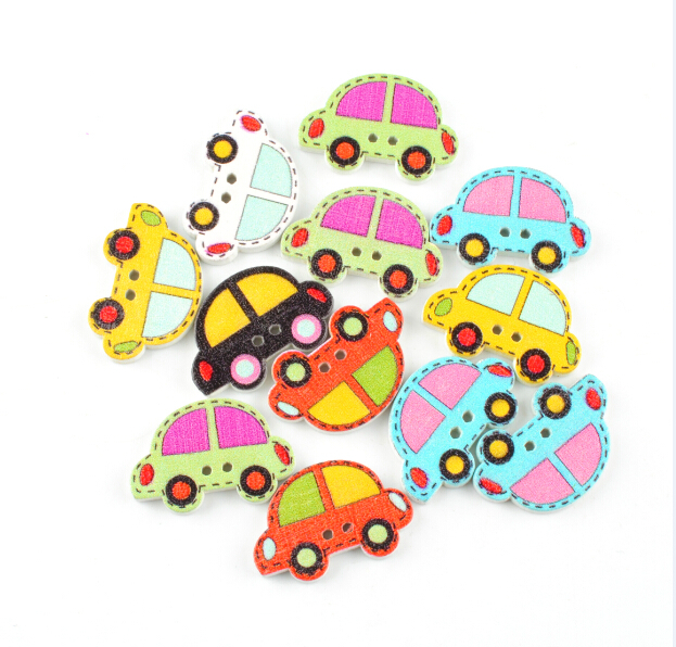 50 PCs wood buttons New Colorful Scrapbooking 2 Holes Car Pattern wood Sewing Buttons AE03072(China (Mainland))
