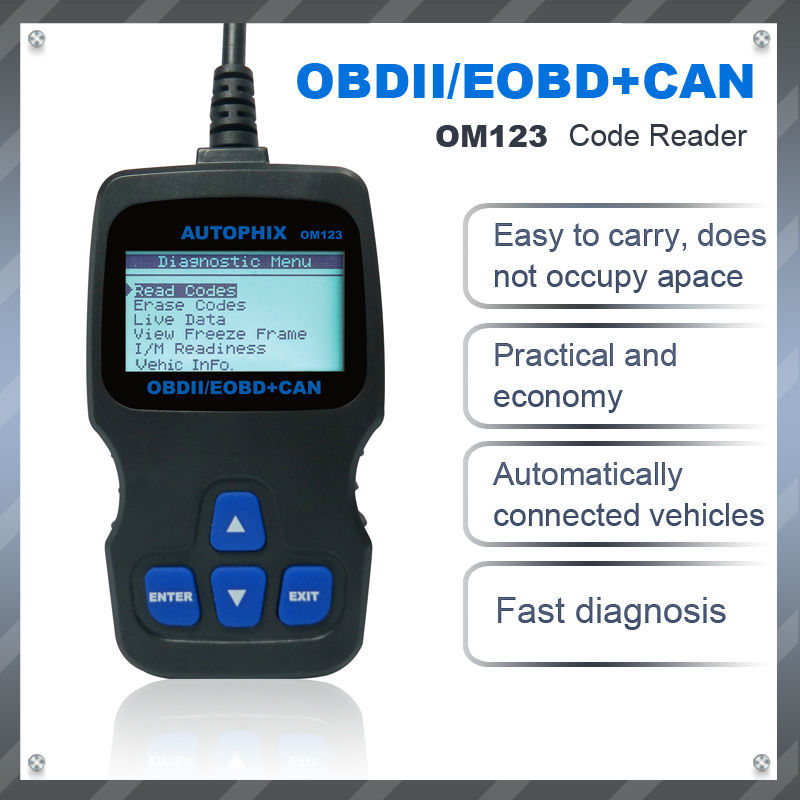 AUTOPHIX OM123 obd ii obd2 EOBD code readers & scan tools & diagnostic tool & car detector For Engine system -- black styling(China (Mainland))