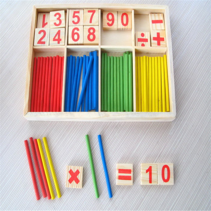 Free shipping 3 old years wooden mathematical children enlightenment digital school educational box toys(China (Mainland))