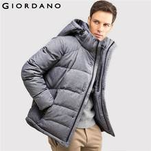 Giordano Men Detachable Hooded Down Jacket Thick Duck Down Coat Male Winter Warm Mens Jackets and Coat Long Sleeve Outer(China (Mainland))