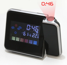 Fashion Attention Projection Digital Weather LCD Snooze Alarm Clock Projector Color Display LED Backlight SY0024C04(China (Mainland))