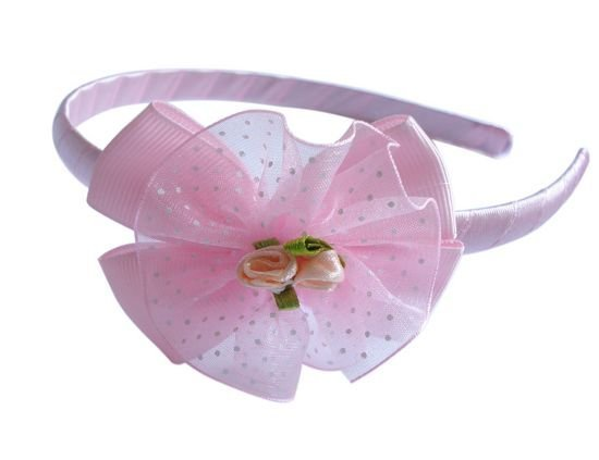 Wholesale 24pcs/lot Sweet Pink Ribbon Headband for Girls,plastic Hairbands,Hair accessories,Freeshipping
