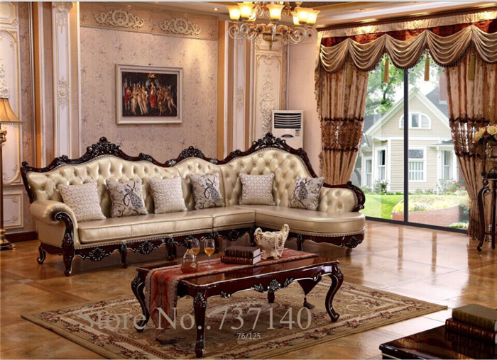 chaise reclining armchair Luxury Baroque Style Living Room Furniture L  shape sofa Set wood and leather sofa high end sofa - High Quality Antique Style Living Room Furniture Promotion-Shop