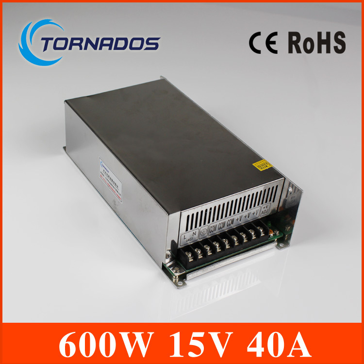 Switching power 15V 40A  600W Single Output Uninterruptible ac 220v to dc 15v Switching power supply unit for LED Strip light <br><br>Aliexpress