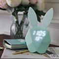 Rabbit Bunny Digital Alarm Clock Green Pink LED Night Light Thermometer Table Wall Clock Built in