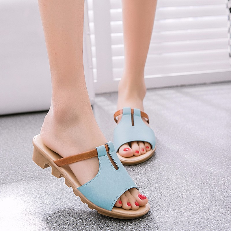 Fashion Women Shoes Genuine Leather Slippers Female Flat Sandals Casual Slip-Resistant Flat Heel Slip-On Fretwork Cut-Outs M4.5