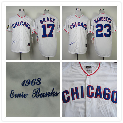 #17 Mark Grace #23 Ryne Sandberg Jerseys Chicago Cubs 1988 Throwback Baseball Jersey Hall Of Fame Path S to XXXL(China (Mainland))