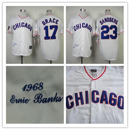 #17 Mark Grace #23 Ryne Sandberg Jerseys Chicago Cubs 1988 Throwback Baseball Jersey Hall Of Fame Path S to XXXL(China (Mainland))