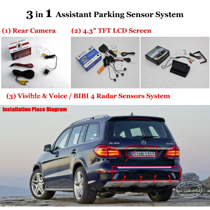 """For Mercedes Benz GL X166 - Car Parking Sensors + Rear View Camera + 4.3"""" LCD Screen = 3 in 1 Visual Alarm Parking System(China (Mainland))"""