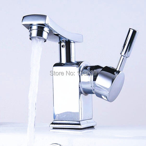 Free Shipping Modern Bathroom Faucet Brass Chrome Basin Mixer Faucet Single Lever Hot And Cold