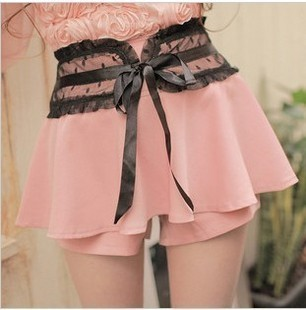 Free shipping-summer lace gauze dot high waist shorts culottes skorts(China (Mainland))
