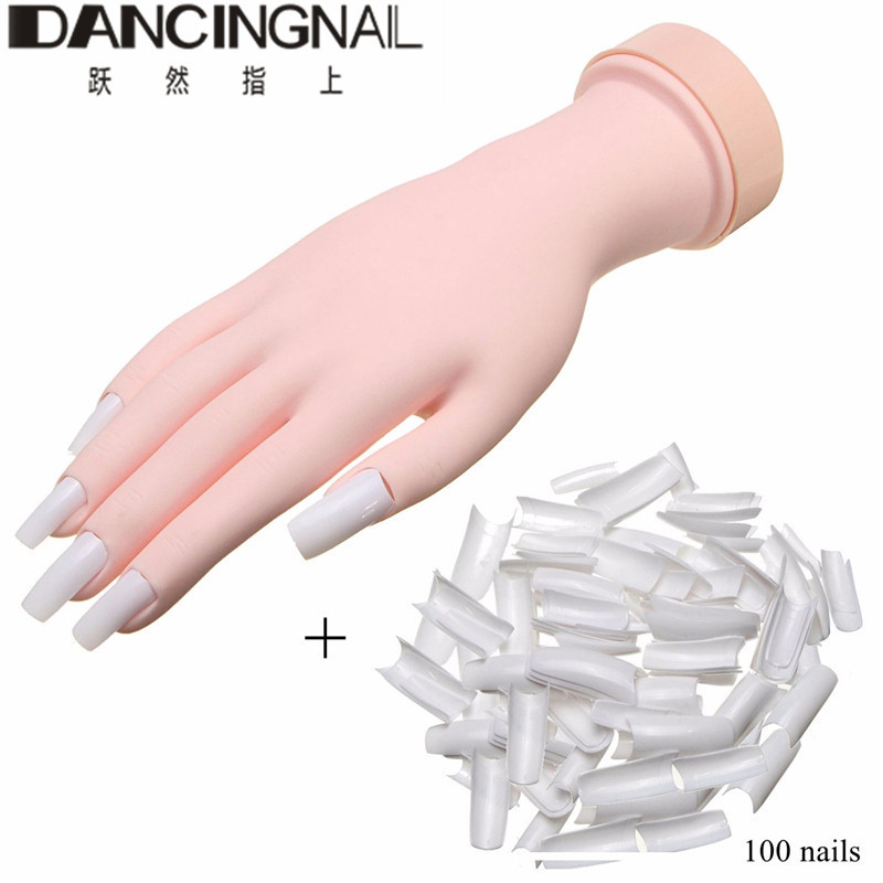 Silicone Prosthetic Practice Hand Soft Flexible Practice Nail Art Hand +100 Nails For New Beauty Nail Art Manicure Tools(China (Mainland))