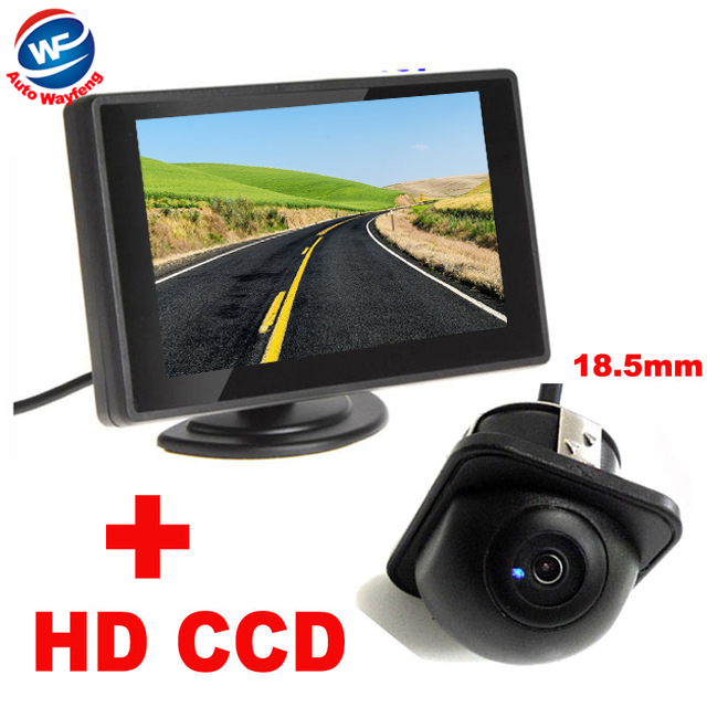 "Auto Parking Assistance System 4.3""Digital TFT LCD Mirror Car Parking Monitor+170 Degrees mini Car Rear view Camera front camera(China (Mainland))"