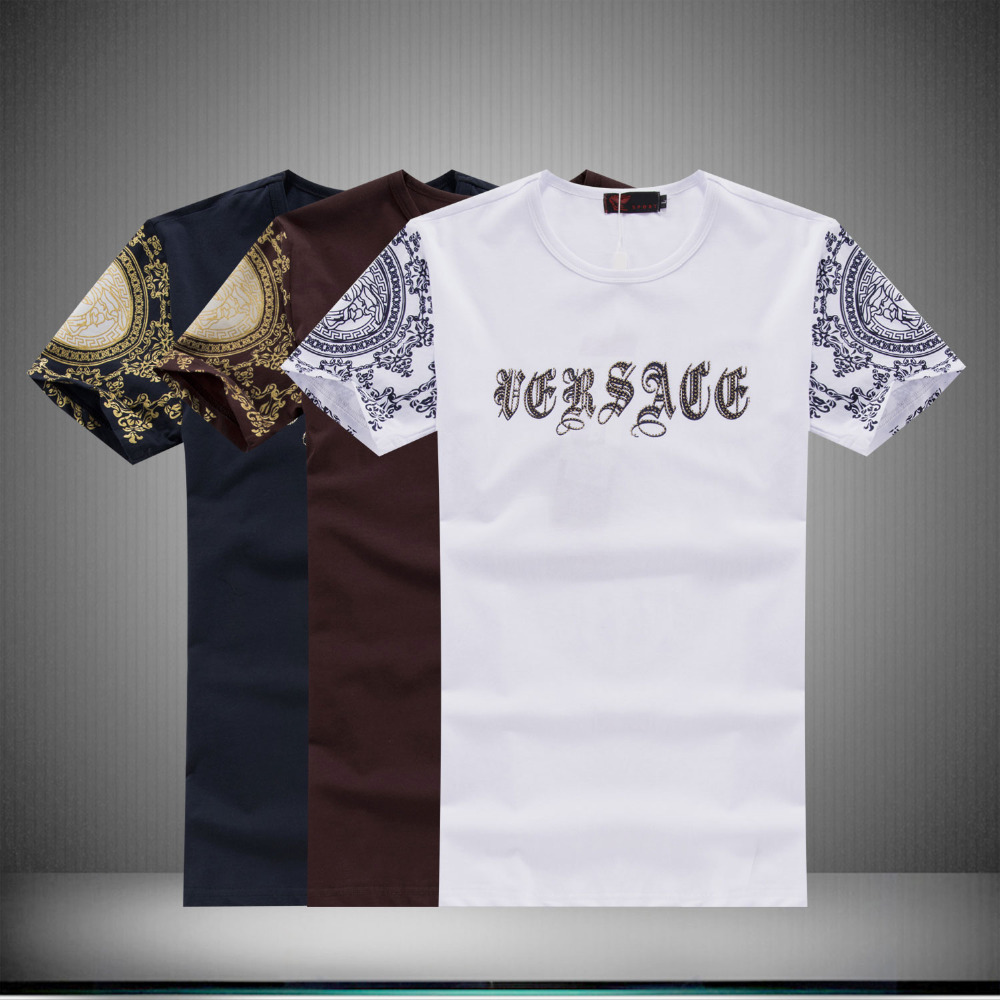 2015 New Brand VER T-shirt Men Summer Style Print Letter Cotton Short Sleeve O-neck Camisetas Italy Big Brand Clothes On Sale(China (Mainland))