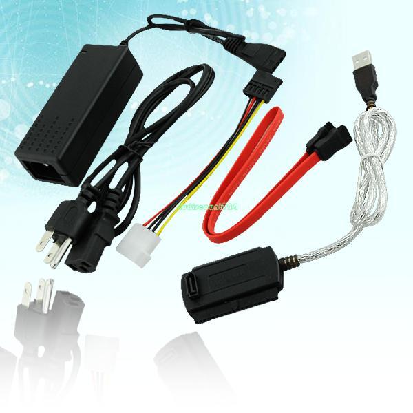 "US plug USB 2.0 to SATA IDE Cable ATA Converter Adapter For Hard Drive 2.5"" 3.5"" DVD CDR EN0873(China (Mainland))"