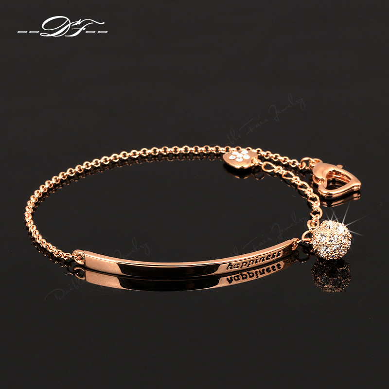 Double Fair OL Style CZ Diamond Ball Fashion Party Charm Bracelets & Bangles Rose Gold Plated Crystal Jewelry For Women DFH196(China (Mainland))