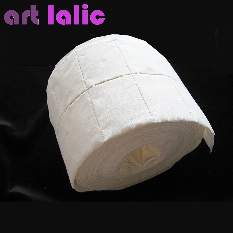 Roll of Lint Free Nail Art Polish Acrylic Gel Remover Wipes / Paper Towel 500 Pcs Cleaning Cotton Pads