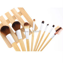 8PCS/set Pro Cosmetic Brush set 8 pcs Bamboo Handle Makeup Brushes Kit toiletries facial make up brush set tools Free Shipping