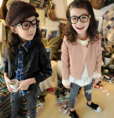 Fashion Coats And Jackets For Children Zipper Baby Girls Leather Jacket Children Girls Leather Outerwear ACOAT003(China (Mainland))