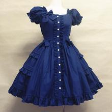 Popular dress in Summer Cotton poplin dress short sleeve flounced dress Lolita costume girls dreamlike bowknot dress pink blue (China (Mainland))