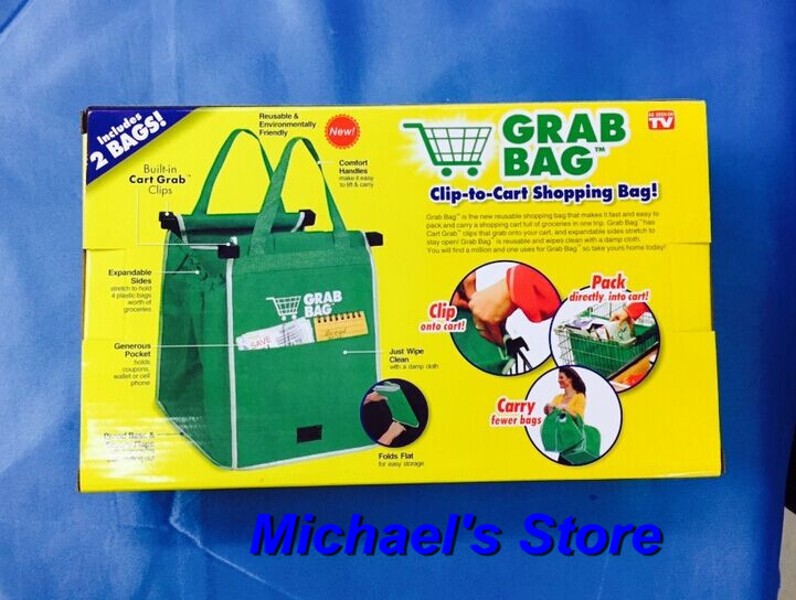 Free shipping Grab Bag Set of 2 Bags Reusable Clip to Cart Grocery Bag As Seen On TV Brand New(China (Mainland))