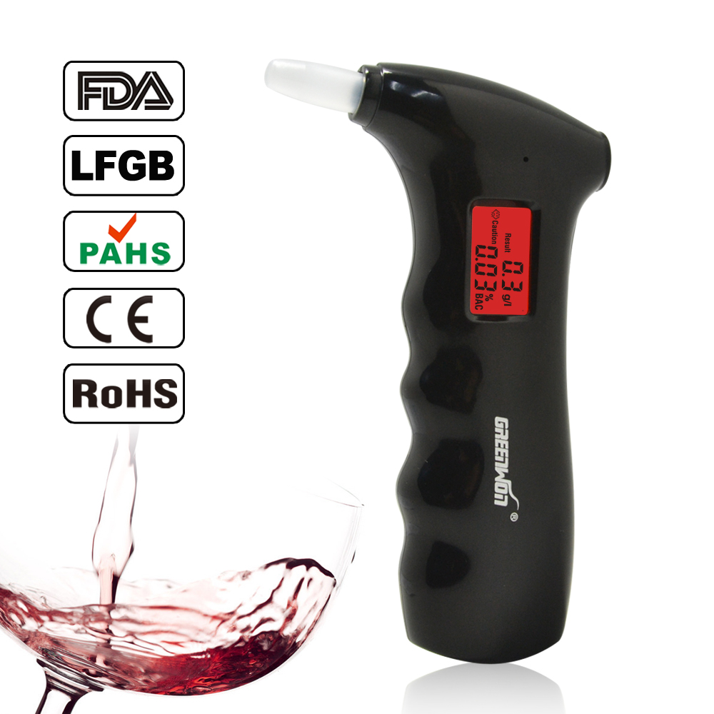 Free shipping 1pc/lot handheld shape Alcohol Tester, Digital Breathalyzer with red backlights (0.19% BAC Max) PFT-65S(China (Mainland))