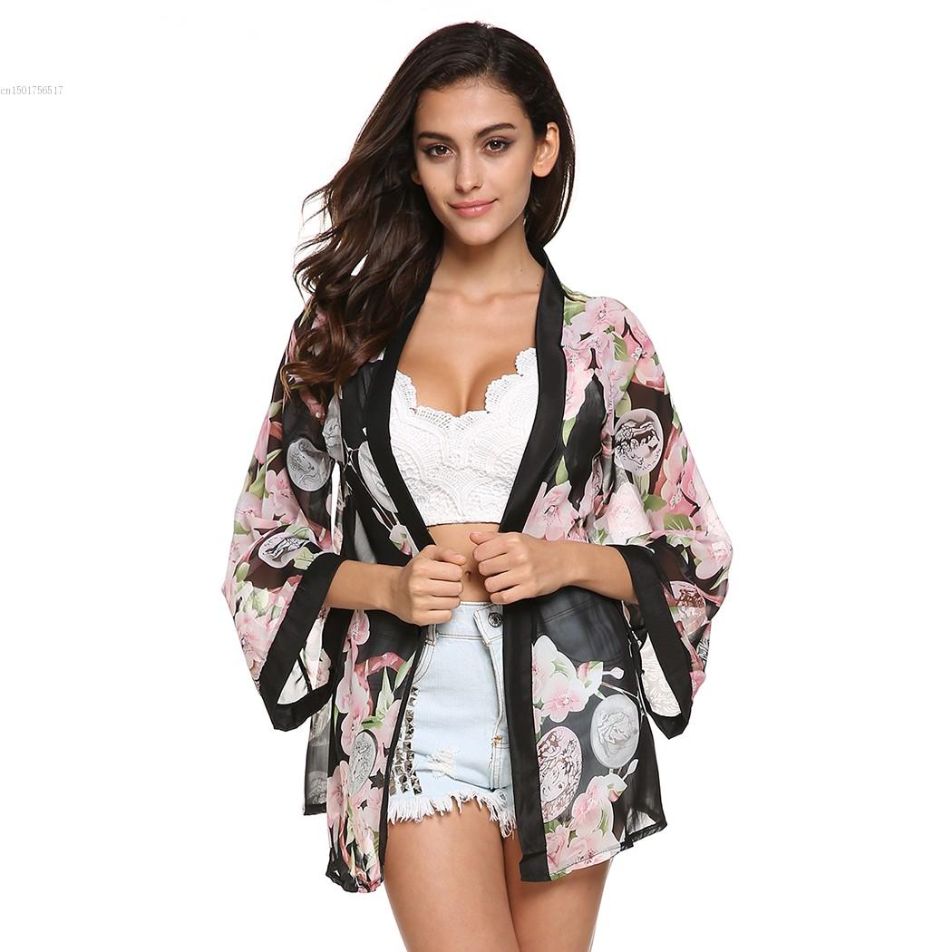 New Fashion Ladies' Floral Pattern Chiffon Cardigan Loose Outwear Casual Tops Elegant Cape Lady Kimono Blouses #005(China (Mainland))