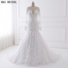 Buy H&S BRIDAL Long Sleeve wedding dress mermaid 2017 Beaded Embroidered Lace Wedding Dresses Vestido De Noiva China Wedding Gown for $152.15 in AliExpress store