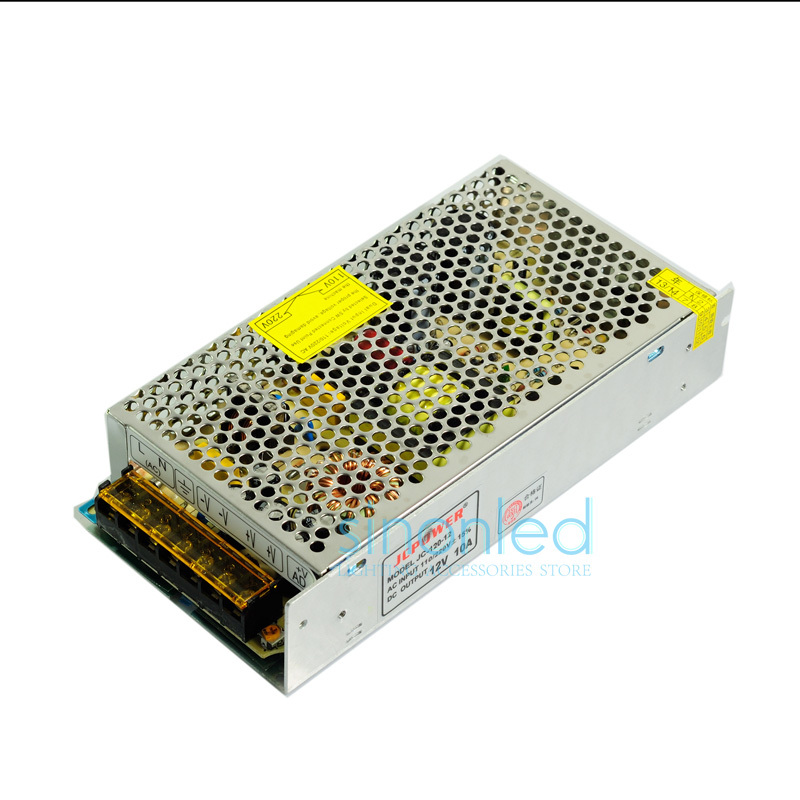 Wholesale 12V 10A 120W Universal Regulated Switching cctv Transformer Power Supply for 5050 3528 Led strip Light modules(China (Mainland))