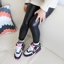 2016 Baby Kids Girls Black Stretchy Faux Leather Skinny Pants Leggings Trousers 1-8Y(China (Mainland))