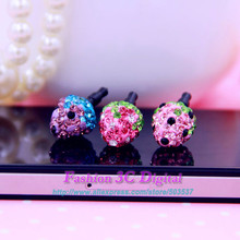 Crystal Diamond Strawberries Anti-dust Plug Dustproof Plug For iPhone 4 4S 5 5S 6 6P Samsung HTC Huawei with 3.5mm plug