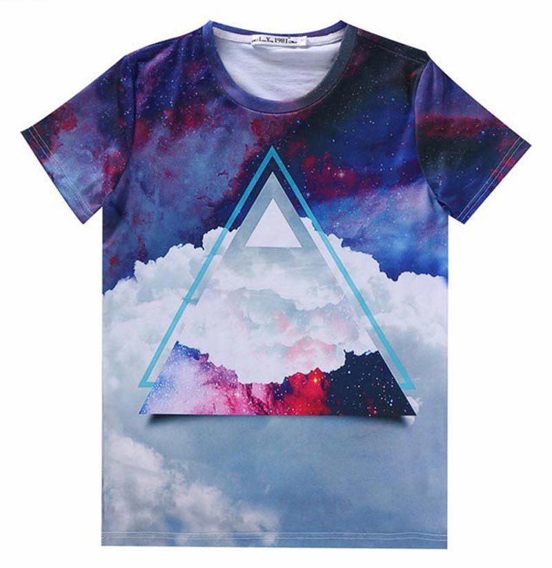 [Mikeal] Triangle Graphic T shirt men summer fashion 3d tshirt clouds printed Harajuku style casual boy tops tshirt(China (Mainland))