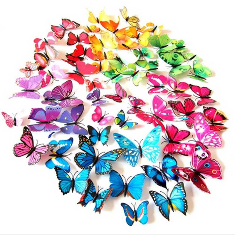 Free shipping 12pcs 6 big + 6 small PVC 3d Butterfly Tatoos Wall Sticker Home Decoration Decals(China (Mainland))