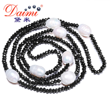 DAIMI 11-12 MM Naturel Grand Riz Perle et 4mm Cristal Collier Blanc Noir Bijoux 90 cm Long perle Collier(China (Mainland))