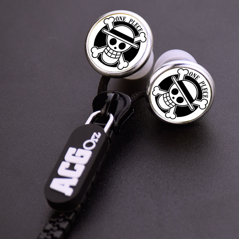 Anime One Piece Luffy Pirates Skull Zipper Cable Earphone Wired Stereo In-ear Earbuds Earphones Headset for Iphone Samsung Gift(China (Mainland))