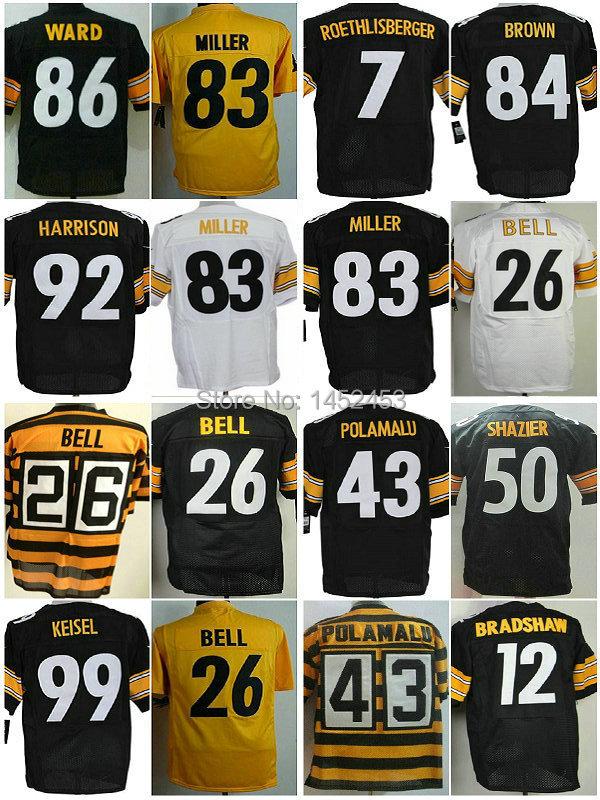 Elite American Pittsburgh football jerseys Steeler #26 Le-Veon Bell Jerseys #43 Troy Polamalu jerseys free shipping!!!(China (Mainland))