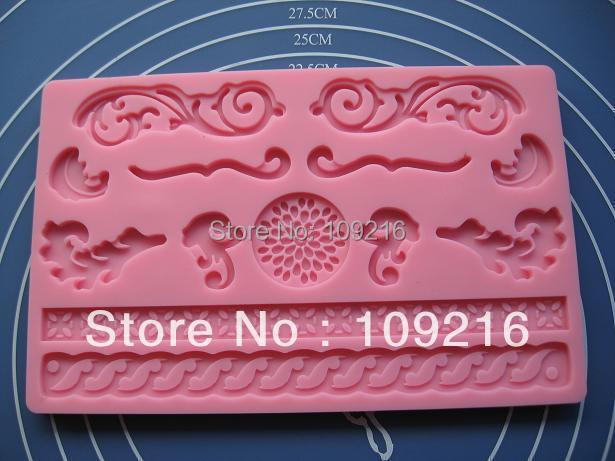wholesale! 3D Roll Rim etc. (HY1-110) Silicone Handmade Fondant Crafts DIY Mold Cake Decorating(China (Mainland))
