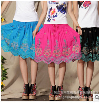 10pcs free delivery India Asian American Girl Style Summer Cotton National Trend Embroidery Retro Vintage Skirts Casual SkirtОдежда и ак�е��уары<br><br><br>Aliexpress