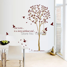 140*185CM Large Brown Family Tree Wall Decals / DIY Decoration Fashion Wall Sticker/ Vinyl Adhesive Sticker/Drop shipping(China (Mainland))