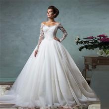 2016 Vetsidos De Noiva Ball Gown See Through Long Sleeve Lace Wedding Dresses Elegant White/Ivory Wedding Gown(China (Mainland))