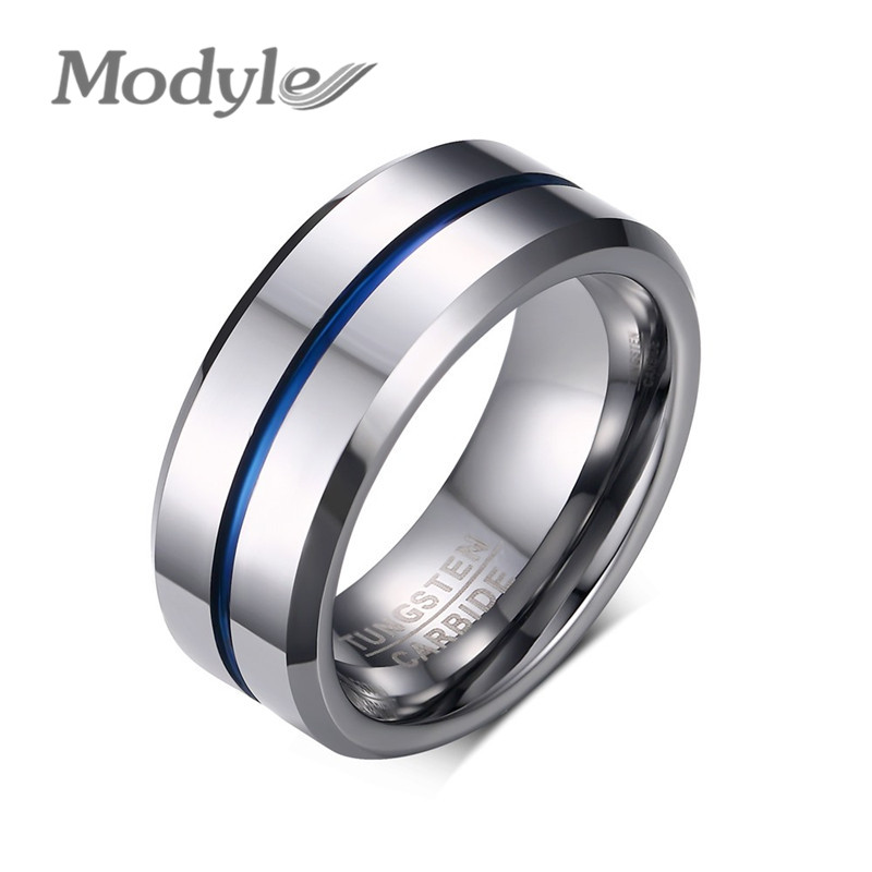 Modyle 2016 Fashion Thin Blue Line Tungsten Ring Wedding Brand 8MM Tungsten C